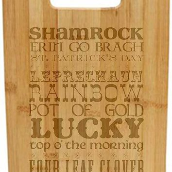 Laser Engraved Cutting Board - St Patrick's day subway art