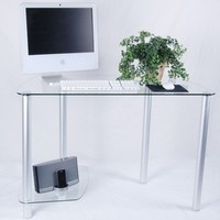 Tier One Designs Clear Glass Computer Desk with Tower Stand