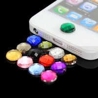 Cute 10x Diamond Bling Home Button Stickers For Apple iPod iPhone 3GS 4G 4S 5 5G