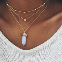 OPAL CRYSTAL NECKLACE - GOLD