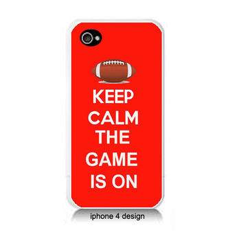 Keep Calm The Game Is On Iphone 4/4s case, Iphone cover, football, red
