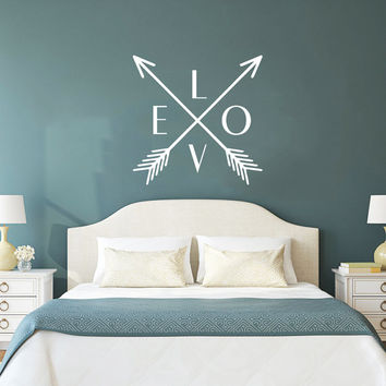 Wall Decal Arrow Love Vinyl Sticker Decals Art Home Decor Mural Feather Indie Boho Wall Decal Arrows Fashion Bohemian Bedroom Dorm AN703