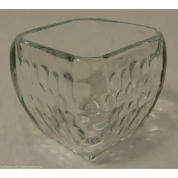 Votive or Tea Light Candle Holder 4x4x3in Glass