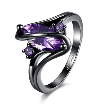 3 color Beautiful pretty fashion Wedding ring Party Black gold color silver plated NICE women stone crystal Lady Ring jewelry