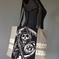 SONS OF ANARCHY - Upcycled Rock T-Shirt Diaper Bag/ Tote - ooak