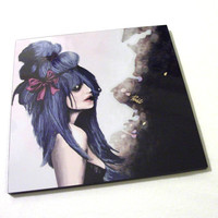 Harajuku style - Mounted Print / Original digital painting by Rouble Rust / Lolita - Cool - Pop Surrealism - Sexy - Gothic - Woman