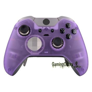 Foggy Clear Purple Soft Touch Faceplate Front Housing Shell Fix Part for Xbox One Elite Controller + Accent Rings - XOEP016X