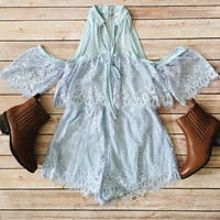 Off The Shoulder Scalloped Lace Romper (Sky Blue)