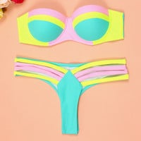 Retro Patchwork Hollow Out Bikini Set Swimsuit 271