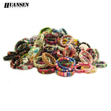 YWHUANSEN Women hair accessories flowers elastic hair bands Print scrunchy gum for hair ties girls headwear 20 Pieces