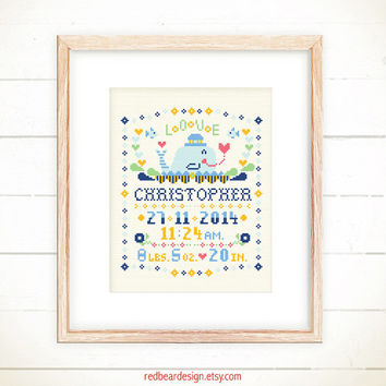 Baby Birth cross stitch pattern - Little Whale with LOVE -Xstitch Instant download-Cute Modern Girl Boy Birth Announcement Personalized gift