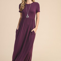 Picture Perfect Short Sleeve Maxi Dress - Plum - Pre-order Ships Tuesday  8/1