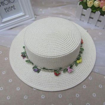 ONETOW Summer Caps For Girl Fashion Pure Color Hats For Children Beach Garland Straw Hats Hat circumference 53-54cm