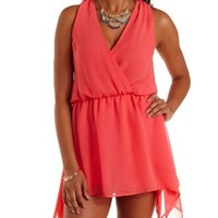 Coral Handkerchief Overlay Sleeveless Wrap Romper by Charlotte Russe