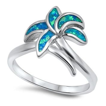 Sterling Silver Palm Tree Blue Lab Opal 13MM