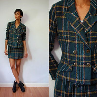 Vtg 2 Piece Plaid Green Yellow Fitted Blazer Mini Skirt