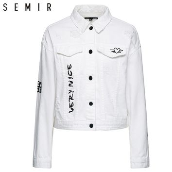 SEMIR New Women Jacket Loose Pocket Casual Cropped Tops Solid Jackets Coat fashion Female White Denim Thin Top Jean Outerwear