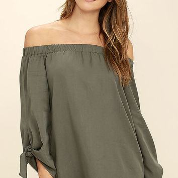 Gentle Devotion Olive Green Off-the-Shoulder Top