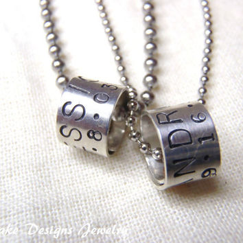 Matching Couple Jewelry Personalized Necklace Set Sterling silver beads with Your custom message