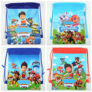 12pcs Cartoon non-woven fabrics drawstring backpack Puppy Paw Dog Gift Bag Girl Boy Kids event Birthday Party Supplies vest bag