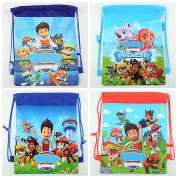 1pc Cute Puppy Paw Dog Cartoon non-woven fabrics drawstring backpack Girl Boy Kids event Birthday Party Supplies vest bag