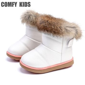 Winter Warm Plush Baby Girls Snow Boots Shoes Pu Leather Flat With Baby Toddler Shoes