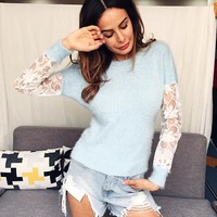 Sweet Women Fashion Perspective Gauze Stitching Multicolor Long Sleeve Bodycon Knit Sweater Tops
