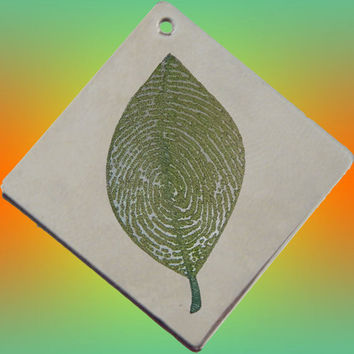 Custom Personalized Fingerprint Leaf Pendant Necklace