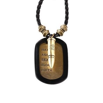 BodyJ4You Dog Tag Necklace Mens Chain with Vintage Bullet Army Name Dog Tag Necklace