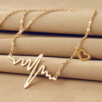 New Fashion Jewelry Imitation 18K Gold Plated ECG Heart Necklace Clavicle Choker Pendant Necklace Maxi Necklace XY-N513