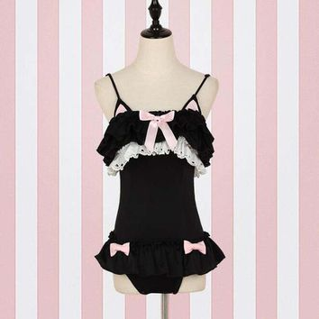 Girls' Summer Seaside Cute Beachwear Sexy Spaghetti Straps Quick Dry Women One Piece Swimsuits Ruffle Patchwork Black Swimwear