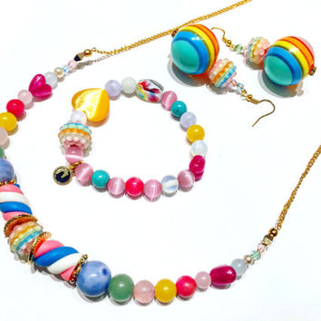 I WANT CANDY Necklace / Bracelet / Earrings / Jewelry Set / Beaded / Gemstone / Pastel / Cute / Food / Womens / Gift / Valentines / Easter