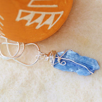 Blue kyanite necklace, raw kyanite, wire wrapped stone, rough cut gem, blue necklace, boho chic, asymmetrical, jewelry gift,talisman jewelry