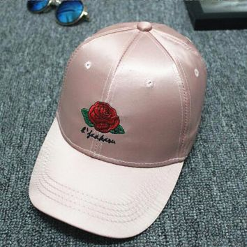 Hundreds Rose Embroidery Strap Cap Adjustable Golf Snapback Baseball Hat Cap Pink