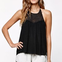 Billabong Your Time Crochet Bib Halter Tank Top - Womens Tees