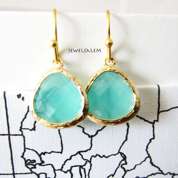 Gold Mint Earrings for Bride, Seafoam Wedding, Teal Green Bridal Jewelry, Bridesmaid Earrings, Gift for Her, Modern Jewellery C1