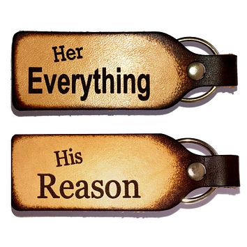 Her Everything His Reason Couples Keychain Set