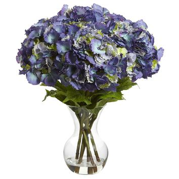 Artificial Flowers -Large Hydrangea With Vase Flower Arrangement No2 Silk Plant