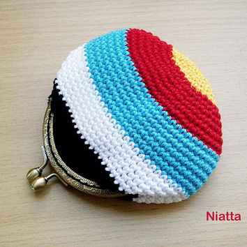 crochet pattern PDF instant download digital coin purse archery target frame purse coin pouch change purse kiss lock money pouch egst Niatta