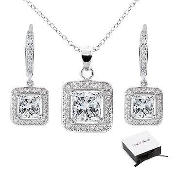 Ivy 18k White Gold Plated CZ Pendant Necklace and Earrings Jewelry Set