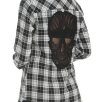 Black & White Plaid Skull Woven Top