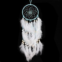 "Circular White Handmade Feathers Dream Catcher - 24"" long"