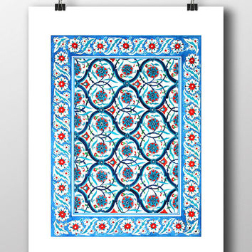 Ottoman Floral Wall Tile Art Watercolor Print Turkish Digital Print Carnation Wall Art Traditional Wall Decor  sc 1 st  wanelo.co & Ottoman Floral Wall Tile Art Watercolor from HermesArts on Etsy