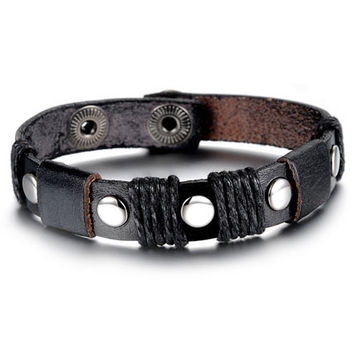Vintage Men Genuine Leather Bracelet