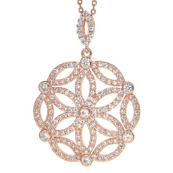 Dear Deer Rose Gold Plated Cubic Zirconia Intricate Floral Pendant Necklace
