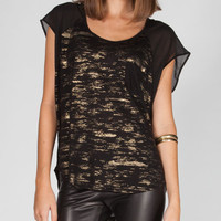 Volcom Sheer Me Out Womens Tee Black Combo  In Sizes
