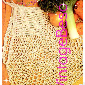 DIGITAL PATTERN • Tote Bag Crochet Pattern • Reusable Grocery Bag • 1970s Vintage • PdF Pattern • Retro Yarn String or Twine Tote Bag Green