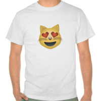 Smiling Cat Face With Heart Shaped Eyes Emoji Tee Shirts