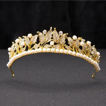 New Pearl leaves baroque queen crown Bridal tiara Girls headband wedding bride crystal crowns hair accessories jewelry diadem