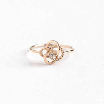 Sale- Antique 10k Rose Gold Rose Cut Diamond Victorian Love Knot Ring- Size 5 Late 180